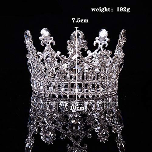 MLDSJQJ Tiara de Corona de Cristal Redonda Tocados de Mujer Plateado Plateado Nupcial Cabello Joyas Boda Tiaras Accesorio2