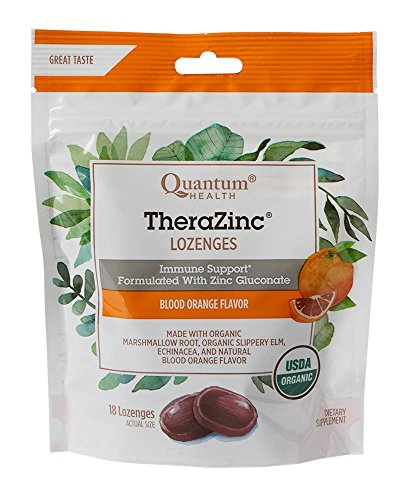 Quantum Health TheraZinc Blood Orange Lozenges, Immune Support in Tasty USDA Organic Drops for Cough Relief, Bagged, 18 Ct.