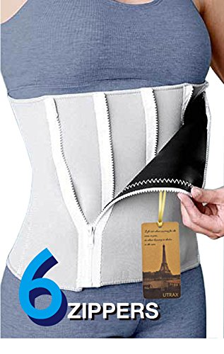 UTRAX 25'-45' Waistline Neoprene 6 Zipper Adjustable Weight Loss Slimming Belt Waist Trimmer