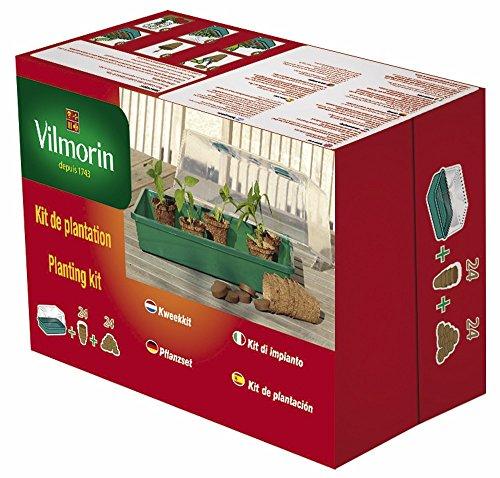 VILMORIN - Kit de plantation : 1 serre rigide en plastique L. 38 x l. 18 x H. 24 cm + 24 Godets en Fibre de Coco Ronds 6 cm + 24 Pastilles de Fibre de Coco Compressée - Facile à Utiliser