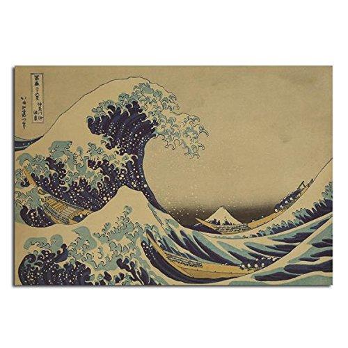 Inovey Kanagawa Surf Poster Croquis Poster Papier Kraft Affiche Murale 21 Pouces X 14 Pouces