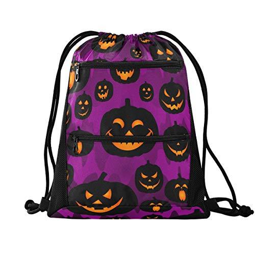 Halloween Rucksack mit Kordelzug – Halloween Jack Laterne Monster Gym Sack Pack Sport Rucksack für Shopping
