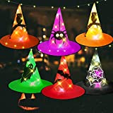 HIGBRE Halloween Decorations Witch Hats, 6Pcs Hanging Lighted Witch Hat Outdoor Halloween Decor for Tree, Porch, Yard