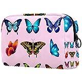 Nueve especímenes de mariposas bolsas de maquillaje portátiles bolsa de cosméticos impresa,bolsa de cosméticos para mujeres bolsa de cosméticos de viaje