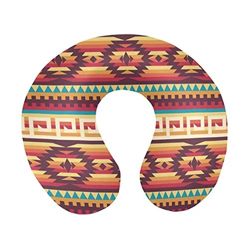 Patrón Nativo Americano Tribal Azteca Patrón étnico Confort en Forma de U Almohada para el Cuello de Viaje de Espuma viscoelástica para Relajarse y Dormir en la Oficina del avión o en casa