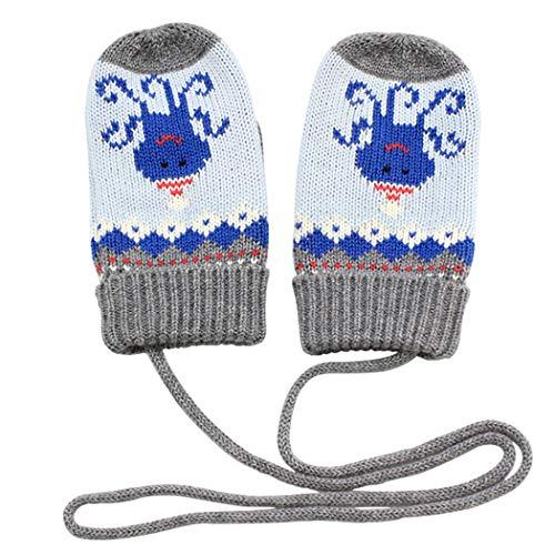 ANIMQUE ANIMQUE Baby Kinder Strickhandschuhe Fäustlinge 4-8 Jahre Jungen Mädchen Fäustel Winter Warm Oktopus Grau, L