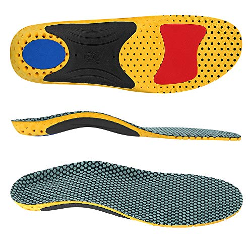 VoMii for Arch Support Insoles, Flat Feet, Plantar Fasciitis Orthotic Inserts with Semi-Rigid Nylon Arch Support Pad Best Shock Absorption Insole for Men and Women, M(Men 8.5-10/Women 9.5-11)