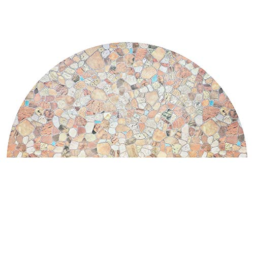 AUTOTECH PARK Precut Custom Arched Window Film, Stone Design, up to 64 inches Diameter and 33 inches Height