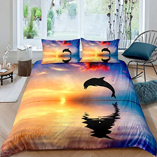 Erosebridal Sea Dolphin Comforter Cover Set Abstract Animal Duvet Cover Pastel Colorful Sunset Bedding Set for Kids Teens,Luxury Room Decoration 3Pieces Bedding Set with 2 Pillow Cases,Queen Size