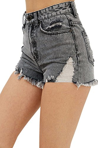 trueprodigy Casual Damen Marken Shorts einfarbig Basic Hotpant Cool Stylisch Vintage sportlich Slim Fit Jeans Shorts für Frauen, Farben:Bleached, Größe:40
