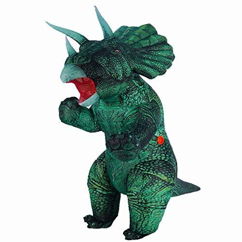 Aufblasbares Kostüm für Erwachsene Aufblasbares Dinosaurier Triceratops Kostüm Blow Up Halloween Kostüm Karneval Party Cosplay Verkleidung (Grün, Stehender Stil)