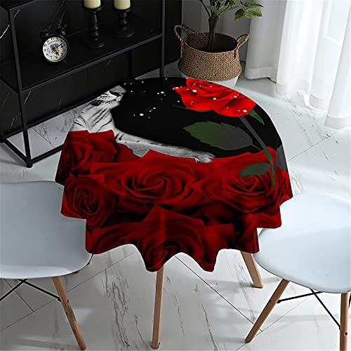 Mantel Redondo 3D Limpiar Con Un Paño Manteles Con Estampado De Rosas Cubierta Mesa Circular Impermeable A Prueba De Polvo Para Cocina, Comedor, Jardín, Cafetería, Buffet, Decoración De Mesa De Fiesta