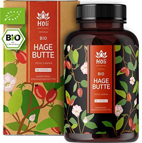 Holi Natural® BIO Hagebuttenkapseln | 180 vegane Kapseln | 150mg Vitamin C je Tagesdosis | Reinste Hagebuttenpulver Kapseln hochdosiert | hoher Vitamin C Gehalt