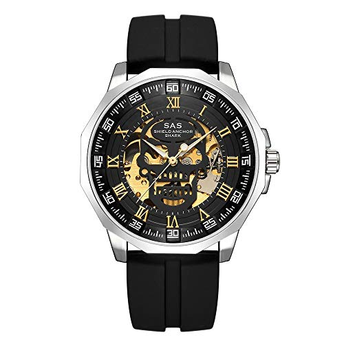 ZCFDQI Sehen Shield Anchor Shark Watch Herrenuhr Mechanische Skull Skeleton Uhren Herrenuhr   Gold SCHWARZ