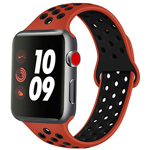 ATUP Cinturino Compatibile con Apple Watch 38mm 40mm 42mm 44mm, Cinturino in Silicone Morbido di Ricambio Compatibile con iWatch Series 1/2/3/4 (05 Red&Black, 42mm/44mm-M/L)
