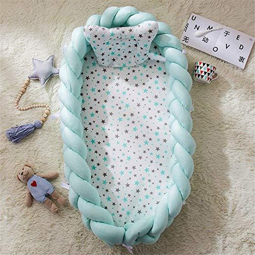 LJYY Protector de Cuna para bebé 90 x 50 cm Conjunto de Equipamiento para bebé Cuddly Nest Colchón extraíble para bebé Cuna de Viaje para bebé 100% algodón (Azul Claro)