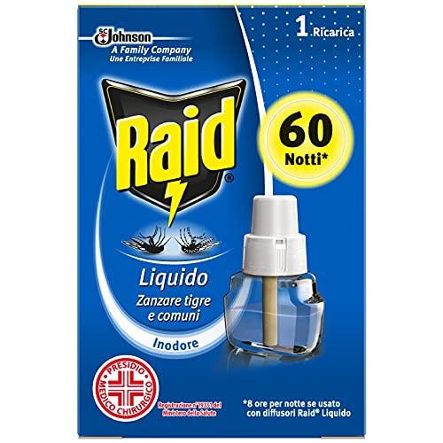 Raid Liquido Elettrico Efficace Contro Zanzare Tigre e Zanzare Comuni, 60 Notti, 36ml