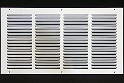 "24""w X 4""h Steel Return Air Grilles - Sidewall and Ceiling - HVAC Duct Cover - White [Outer Dimensions: 25.75""w X 5.75""h]"