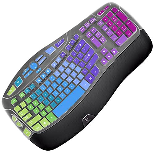 Silicone Keyboard Cover Skin Compatible with K350 MK550 MK570 Ergonomic Keyboard Protector Ultra Thin Case for Logitech MK550 Keyboard Skin Rainbow