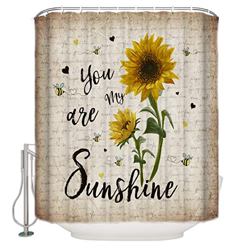 FAMILYDECOR Sunflower Bathroom Shower Curtains You are My Sunshine Retro Style Kraft Paper Letter Polyester Fabric Bath Curtain Waterproof Bathroom Curtain Set with Hooks, Extra Long 48 X 72 Inch