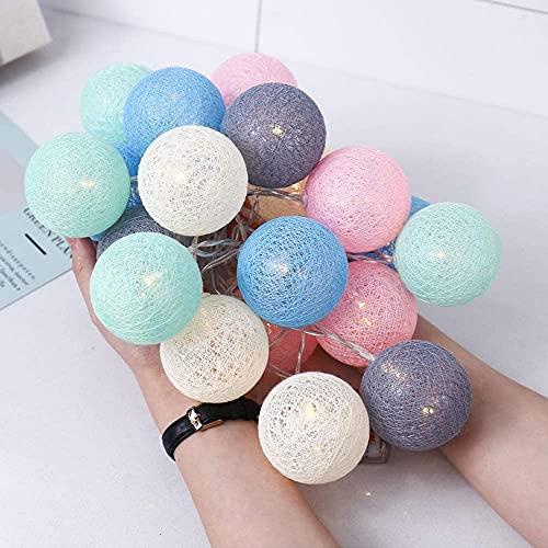 LED Bolas de Algodón Luces Decorativas Habitación, Guirnaldas Luminosas de Cadena con Luz Blanca Cálida 3M 20 LEDs Cotton Ball Lights para...
