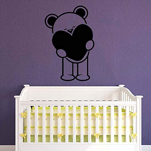 Geiqianjiumai Teddybär Mädchen Junge Kindergarten Dekoration Mode Wohnzimmer Aufkleber schwarz 57x85cm