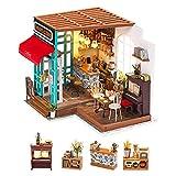Robotime Dollhouse Kit Rénovation de meubles Woodcraft Kit de Construction Mini Maison de Bricolage à la Main Avec Lumières et Accessoires Miniature Home Decor Décor de Noël (Coffee Shop)