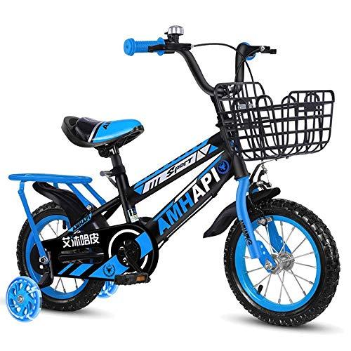 Faltbare MountainBike Kinderfahrrad Kinderfahrräder, Größen 12 Zoll, 14 Zoll, 3 Farben, mit Stabilisatoren, Schutzblechen und Halter Fahrrad (Farbe: Rot, Größe: 14 Zoll) ( Color : Blue , Size : 12in )