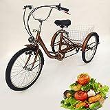 Triciclo para adultos de 24 pulgadas, 6 velocidades, 3 ruedas, bicicleta de ciudad, con cesta y luz, marco de acero al carbono, dientes de aleación de aluminio