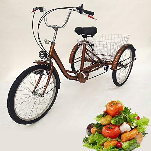 Tricycle per adulti, 24 pollici, 6 velocità, 3 ruote, per anziani, con cestino e luce, telaio in acciaio al carbonio, denti in lega di alluminio