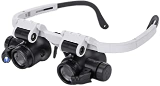 TenYua Headband Glasses Magnifier with LED Light 8X 15X 23X Magnifying Glass for Watchmaker Jewelry Optical Lens Glass Mag...