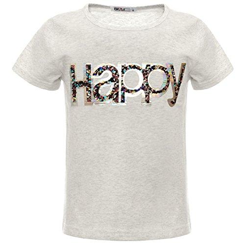 BEZLIT Mädchen Kinder Glitzer Hologramm T-Shirt Oberteil Kunst-Perlen 22542 Grau 152
