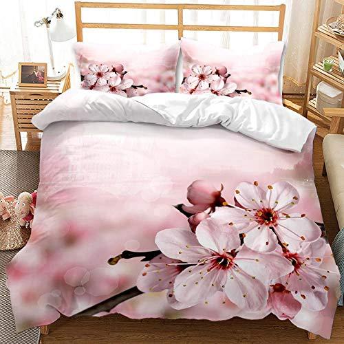 QIAOJIN Juego de ropa de cama de 2/3 piezas, diseño moderno con cremallera, funda nórdica y funda de almohada, microfibra de alta calidad transpirable (135 x 200)