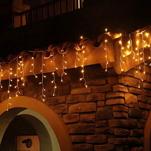 Eisregen Lichterkette Außen 200er LED 5m, LED Lichtervorhang mit Timer, IP44 wasserdicht 8 Modi für Innenausstattung Außenbereich Schlafzimmer Hochzeit Weihnachten Party (Warmweiß)