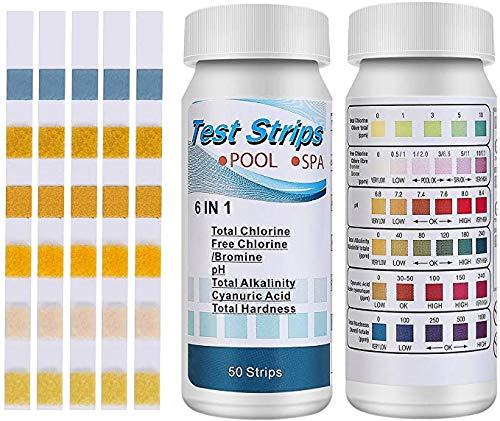 Juego de 100 tiras de prueba para piscina y spa, 6 en 1, para medir el cloro, el pH, los productos químicos, el bromo y más