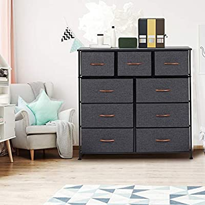 Dresser for Bedroom with 9 Drawers,Fabric Dresser Tower for Closets,Bedroom, Hallway- Sturdy Steel Frame, Wooden Top(Grey) - 【Multifunction Cabinet】Features 9 removable drawers, made of breathable.Diversify color matching all home decoration style, fashion and simple design help save a lot of space. 【Sturdy and Durable】Made of high quality strong steel frame with durable MDF wooden top, which ensure durability and resistance against wear and tear over time.Easy pull drawers with wooden handle for smooth opening and closing. 【SMART STORAGE】Include 2 sizes to satisfy your different storage needs to store some clothes, blankets, lingerie or gadgets, also use as a nightstand and keep your alarm clock, journal, glasses. - dressers-bedroom-furniture, bedroom-furniture, bedroom - 51EPwiq5SBL. SS400  -