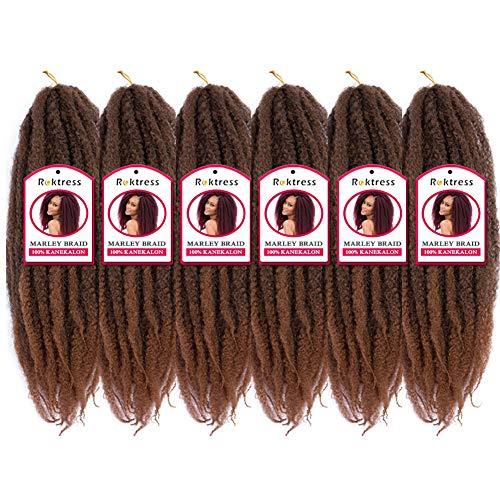 Roktress Marley Hair For Twists Marley Braiding Hair Marley Braid Crochet Hair Long Afro Kinky Marley Twist Braid Hair Extensions 100% Kanekalon Synthetic Fiber (18'6pcs, T30#)