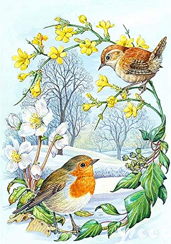 5D Diamond Painting by Number Kits Little Bird Nightingale and Garland Full Drills Square Beads Diamond Gems Art for Adults Natural Animal Scenery for House Wall Decoration 40x50cm