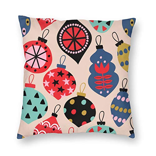Cushion Cover Seamless Pattern With Сhristmas Balls - Vector Illustration,Eps Throw Pillowcaser with Hidden Zipper for Home Decor-50x50cm