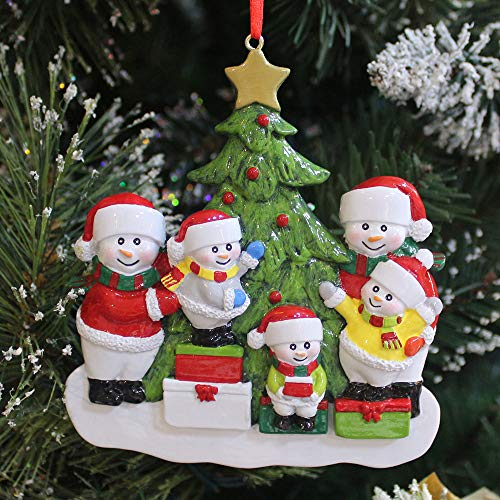 BCSmyer Personalized Snowman Family of 5 Christmas Ornaments 2019,Gift Box with Free Tool for Personalization (Family of 5)