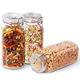Glass Food Storage Jar Containers Set of 3-Airtight 78oz Mason With Seal Wire Fastening Clip-Large Canister-Preserves Coffee, Flour, Sugar, Candy, Cookie, Spices, Beans, Kitchen Canning, Cereal& More