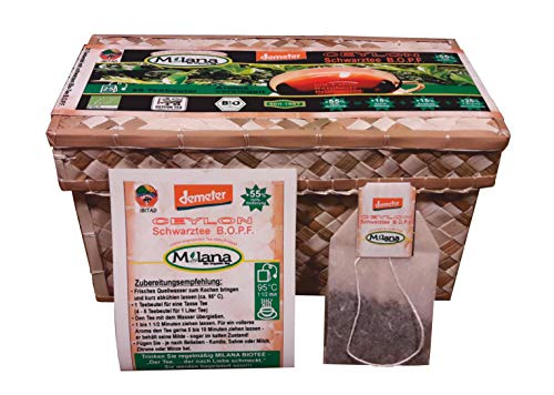 25 Milana CEYLON Demeter BIO-SCHWARZTEE Beutel BOPF - Teebeutel, schwarzer Tee handgeflochtene Teekörbchen, 55 Prozent des Verkaufspreises ist SOZIALE HILFSLEISTUNG- Der Tee...der nach Liebe schmeckt.