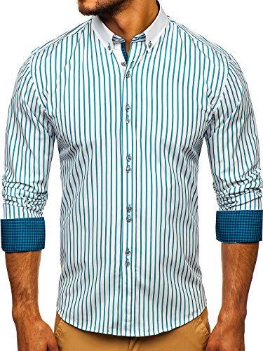 BOLF Herren Hemd Langarm Button-Down Kragen Slim Fit Streifen Muster Casual Style 9713 Grün XL [2B2]