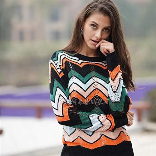 QXPORV gebreide trui voor dames met lange mouwen sweatshirt lente en herfst OL pendeller pullover ronde hals pullover gestreepte regenboogvrouwen hemd