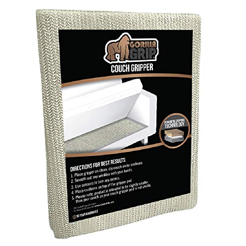 GORILLA GRIP Original Slip Resistant Couch Cushion Gripper Pad, Helps Keep Sofa Cushions from Sliding, Grip Pads Work on Sofas and Couches, Easy to Trim, Strong Durable Grips Help Stop Slipping, Couch