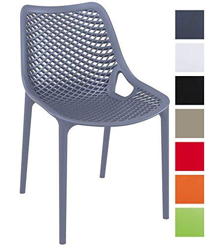 CLP XXL-Bistrostuhl AIR aus Kunststoff I Gartenstuhl mit Einer Sitzhöhe von 44 cm I Outdoor-Stuhl mit Wabenmuster I erhältlich Dunkelgrau