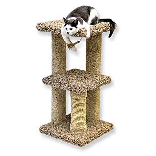 Beatrise Carpeted 2 Story Freestanding Kitty Nest Cat Condo with Scratching Post