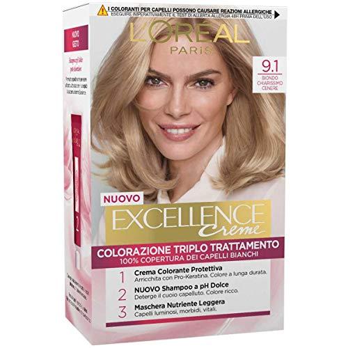 L Oréal Paris Tinta Capelli Excellence, Copre i Capelli Bianchi, Colore Ricco, Luminoso e a Lunga Durata, 9.1 Biondo Chiarissimo Cenere, Confezione da 1