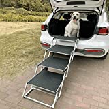 Extra Wide Dog Car Steps,Portable Stairs for Large Dogs,Accordion Aluminum Frame Folding Pet