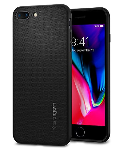 Spigen Funda Liquid Air Compatible con Apple iPhone 7 Plus/8 Plus, Flexión Duradero y Diseño de Fácil Agarre - Negro